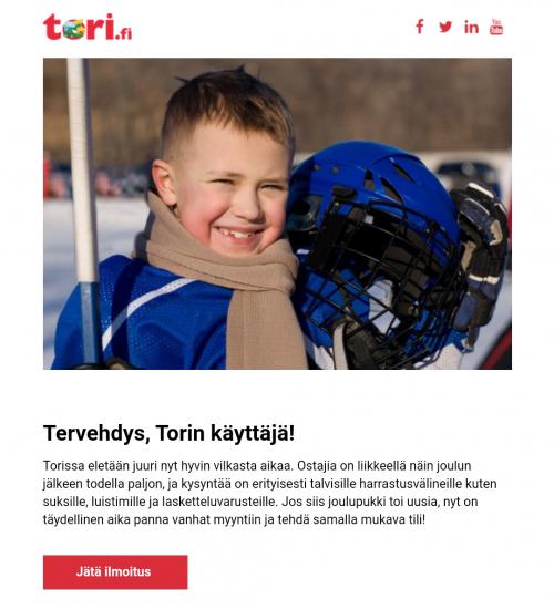 Välipäivät ovat oivallista aikaa lisämyynnille ja ristiinmyynnille. Tori.fi:n uutiskirje kannustaa laittamaan joululahjojen myötä ylimääräisiksi jääneet tavarat kiertoon. Samantyyppinen uutiskirje toimii vuodesta toiseen.