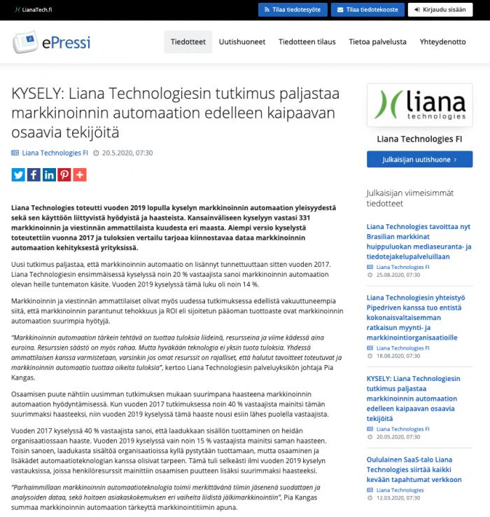 Liana Technologiesin lehdistötiedote ePressi-palvelussa.