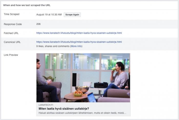 Facebook-julkaisun esikatselu Facebook Sharing Debugger -työkalulla.