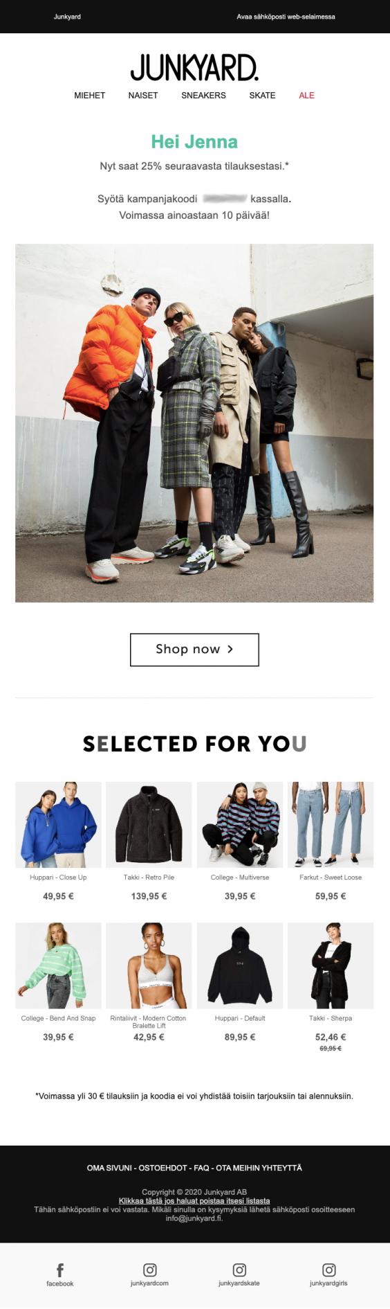Vaatteiden verkkokauppa Junkyard houkutteli passivoitunutta asiakasta takaisin ostoksille alennuskoodilla ja kohdennetuilla tuotteilla.