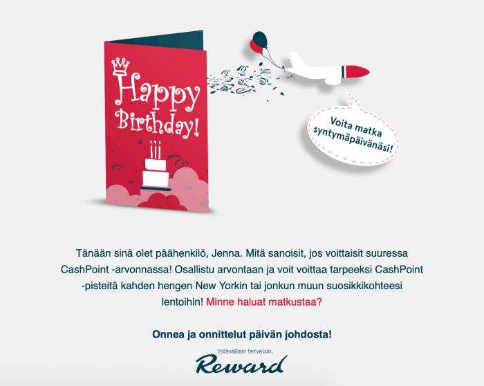 Norwegian muisti kanta-asiakastaan tämän syntymäpäivänä vinkkaamalla ajankohtaisesta arvonnasta. Tällöin viesti toimii parhaiten varsinaisena juhlapäivänä.