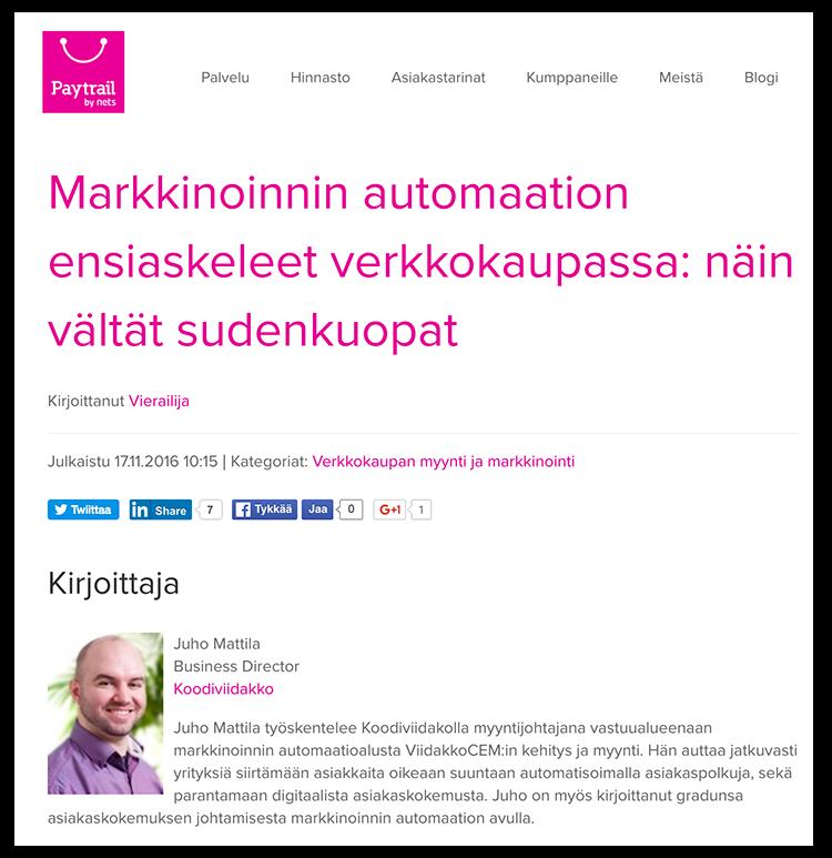 Juho Mattila kirjoitti Paytrailille