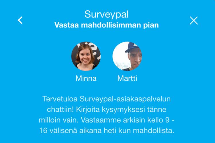 Esimerkki hyvästä chat-asiakaspalvelusta: Surveypal