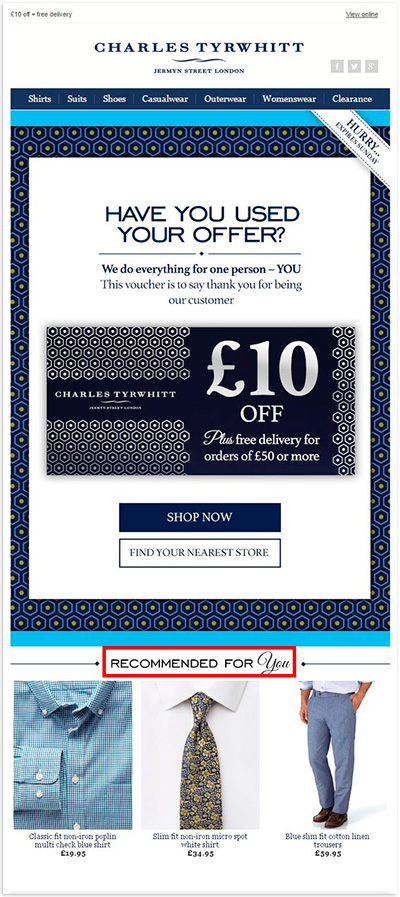 A personalized email by Charles Tyrwhitt suggesting relevant products at the end based on the previous purchases