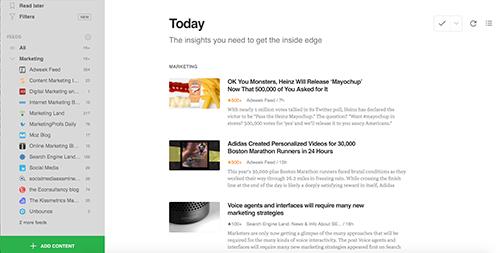 Feedly pitää suosikkiblogit järjestyksessä yhdessä sovelluksessa.