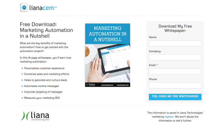 Marketing automation whitepaper, LianaCEM