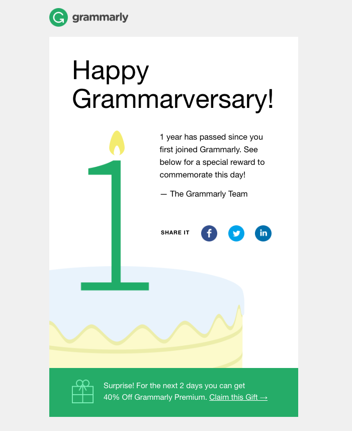 Grammarly email example