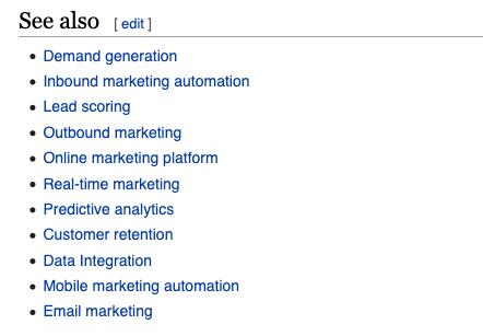 Esimerkkilistaus siitä, mitä Wikipedia näyttää Katso myös -osiossa englanninkieliselle hakusanalle marketing automation