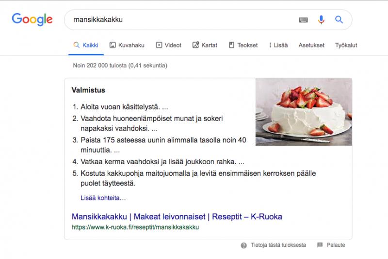Googlen suositellut katkelmat