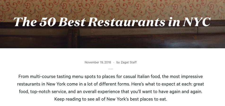 Blogipostaus New Yorkin 50 parhaasta ravintolasta