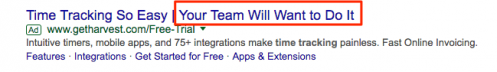Esimerkki Google Ads -tekstimainoksesta