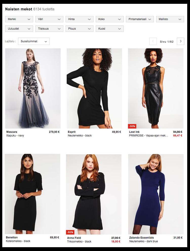 Zalando käyttää vaaleaihoisten mallien lisäksi myös tummaihoisia malleja.